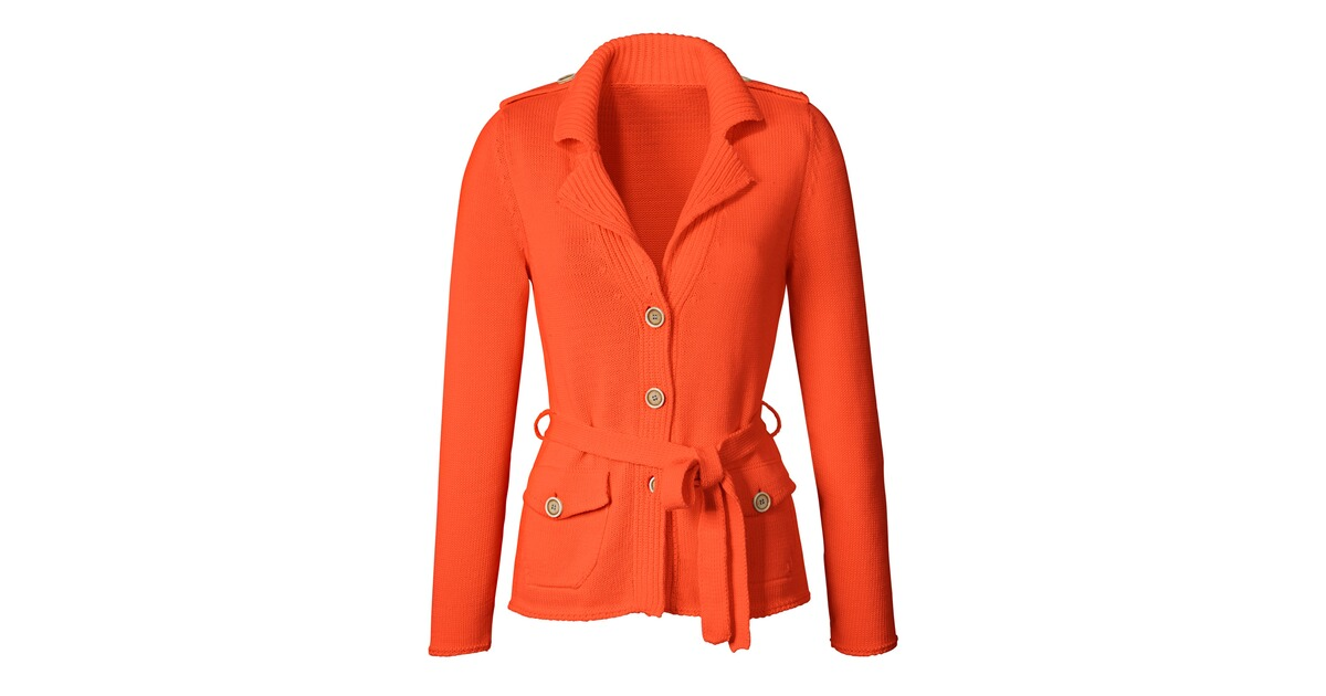 Brigitte von sch nfels revers strickjacke orange for Brigitte hachenburg katalog bestellen