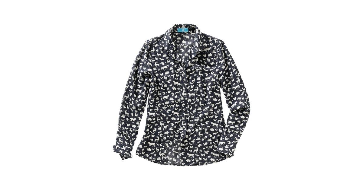 brigitte von sch nfels druckbluse mit tiermotiven schwarz ecru shirts blusen bekleidung. Black Bedroom Furniture Sets. Home Design Ideas
