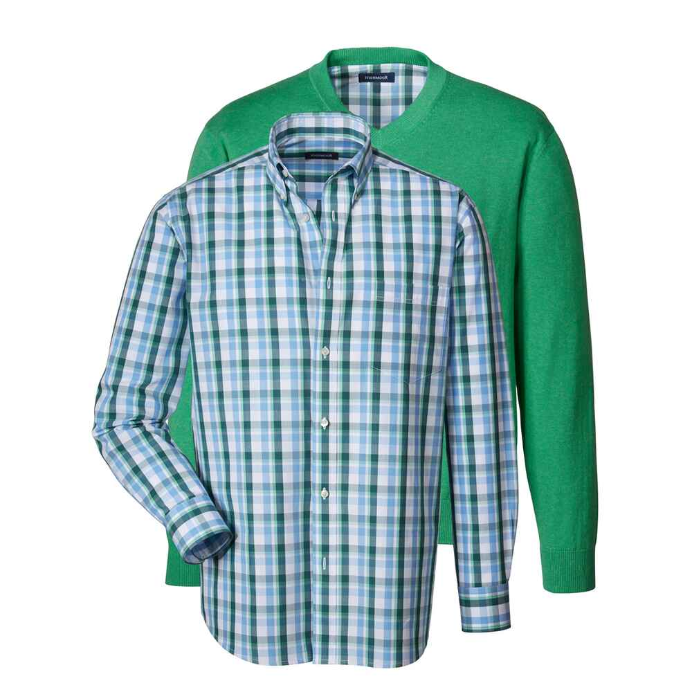 highmoor set mit pullover und hemd gr n bekleidung f r herren sale mode online shop. Black Bedroom Furniture Sets. Home Design Ideas
