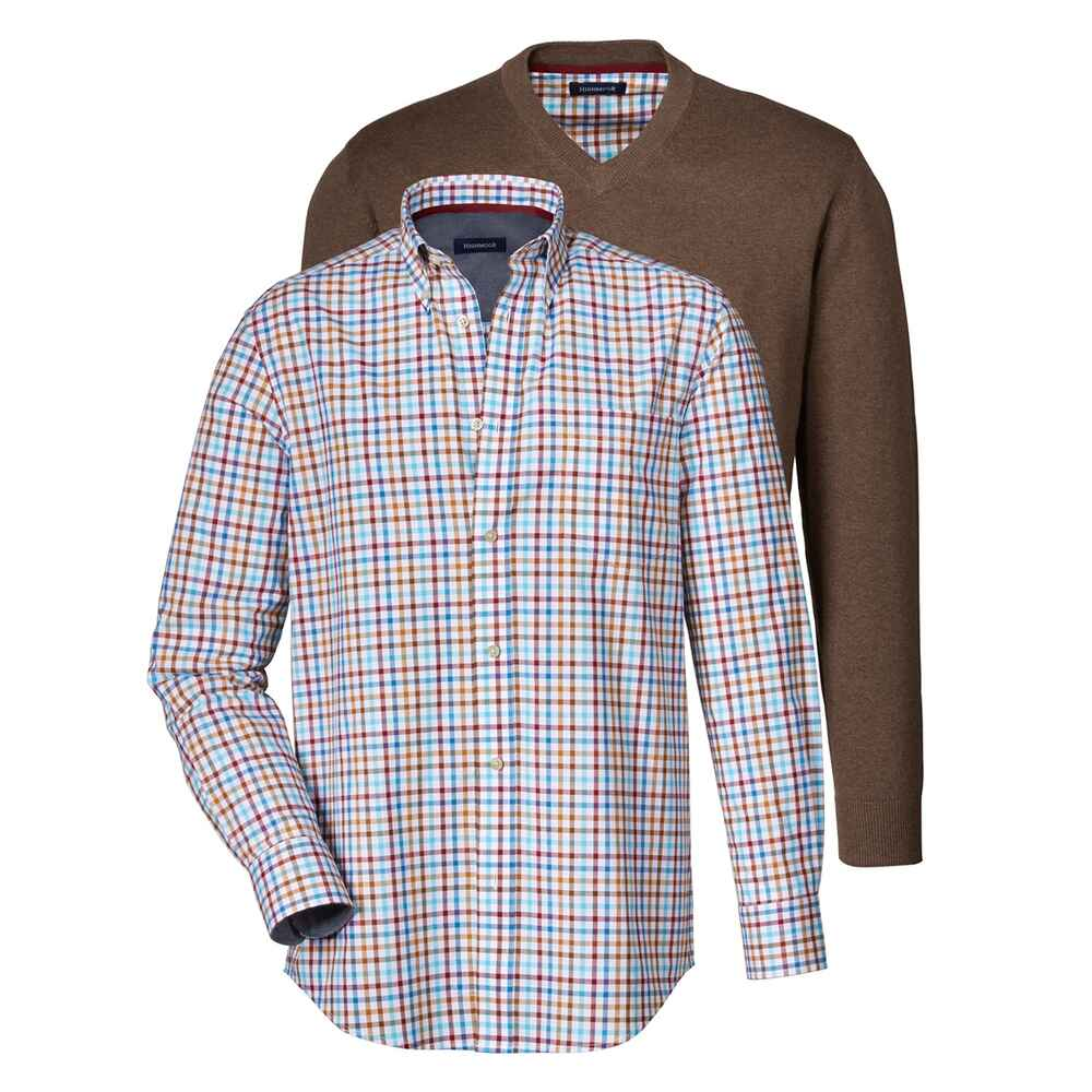highmoor set pullover hemd braun pullover bekleidung herrenmode mode online shop. Black Bedroom Furniture Sets. Home Design Ideas